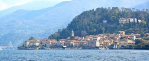 View from the boat of Bellagio town in Italy