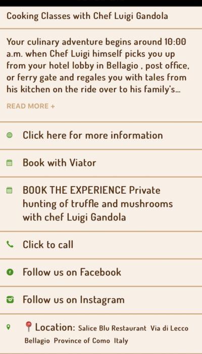 Bellagio Travel guide app pubblicità